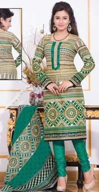 Beige Green Cotton Printed Vintage Salwar Suit