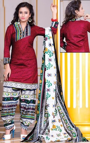 Red Cotton Printed Party Wear Salwar Suit