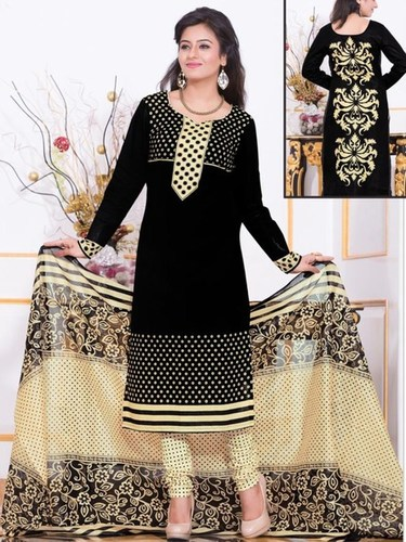 Black Cotton Printed Daily Wear Salwar Suit