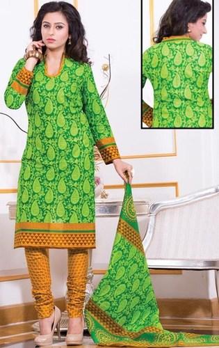 Green Yellow Cotton Printed Salwar Suit