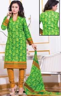 Green Yellow Cotton Printed Salwar Suit