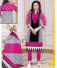 Pink Black Cotton Printed Exclusive Salwar Suit