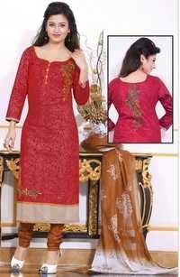 Maroon Brown Cotton Printed Office Wear Salwar Suit