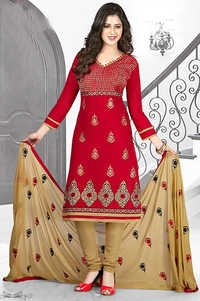 Red Cotton Embroidery Office Wear Salwar Suit