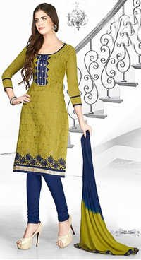 Green Blue Cotton Embroidery Bollywood Salwar Suit