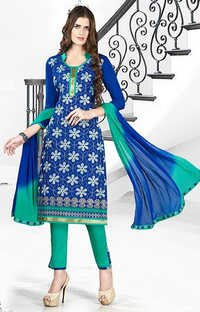 Blue Green Cotton Embroidery Ethnic Salwar Suit