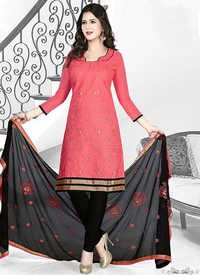 Pink Black Cotton Embroidery Traditional Salwar Suit