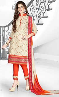 Orange Beige Cotton Embroidery Vintage Salwar Suit