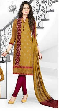 Yellow Red Cotton Embroidery  Salwar Suit