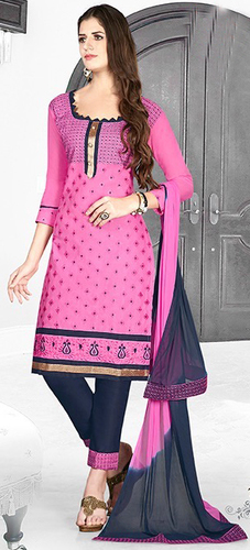 Pink Blue Cotton Embroidery Light Weight Salwar Suit