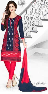 Red Blue Cotton Embroidery Bollywood Salwar Suit