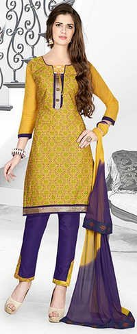 Green Blue Cotton Embroidery Party Wear Salwar Suit