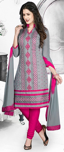 Grey Pink Cotton Embroidery Daily Wear Salwar Suit
