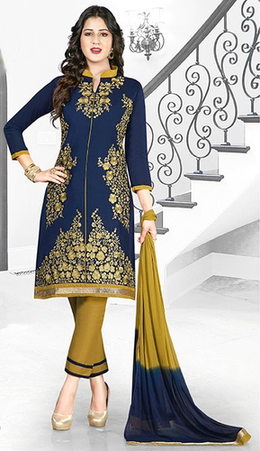 Blue Yellow Cotton Embroidery Evening Wear Salwar Suit
