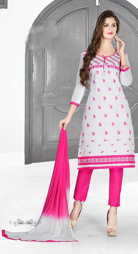 White Pink Cotton Embroidery Daily Wear Salwar Suit