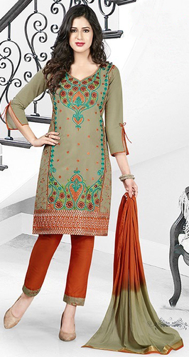 Green Orange Cotton Embroidery Salwar Suit