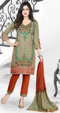 Green Orange Cotton Embroidery Salwar Suit