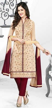 Beige Red Cotton Embroidery Office Wear Salwar Suit
