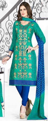 Green Blue Cotton Embroidery Evening Wear Salwar Suit