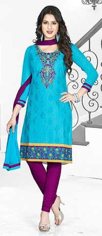 Blue Purple Cotton Embroidery  Salwar Suit