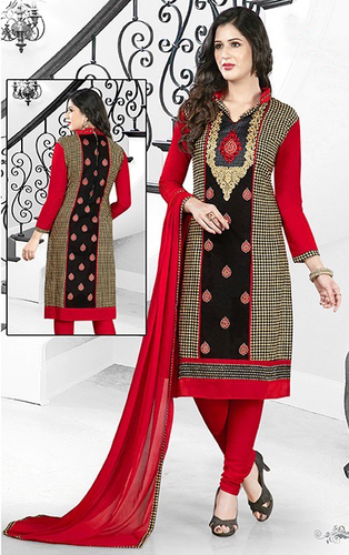 Red Black Cotton Embroidery Kareena Salwar Suit