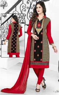 Red Black Cotton Embroidery Kareena Salwar Suit