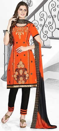 Orange Black Cotton Embroidery Vintage Salwar Suit