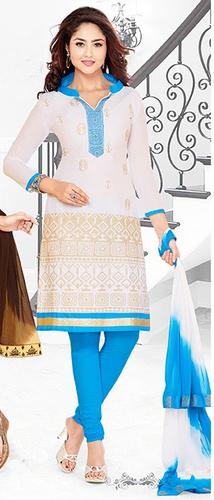 White Blue Cotton Embroidery Vintage Salwar Suit