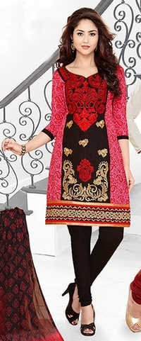 Maroon Cotton Embroidered Punjabi Salwar Suit