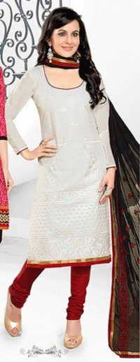 White Red Cotton Embroidery Evening Wear Salwar Suit