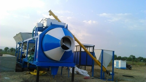 concrete batching plant with reversible mixer
