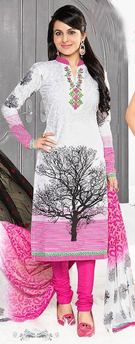 White Pink Cotton Embroidery Exclusive Salwar Suit