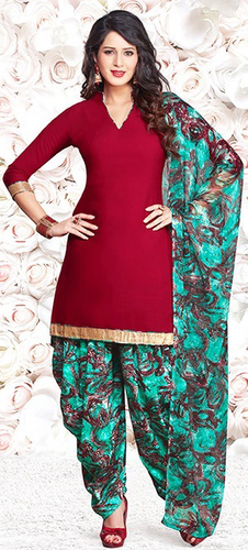 Red Synthetic Printed Bollywood Salwar Suit