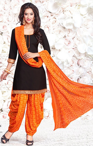Black Yellow Synthetic Printed Traditional Salwar Suit