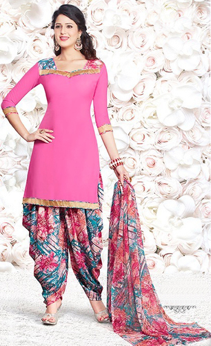 Pink Synthetic Printed Vintage Salwar Suit