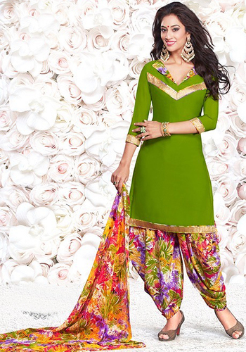 Green Synthetic Printed Light Weight Salwar Suit
