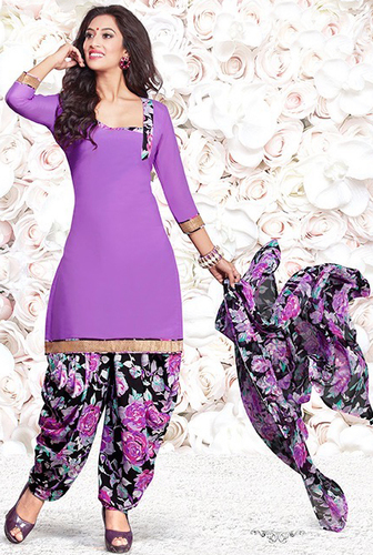 Purple Synthetic Printed Kareena Salwar Suit