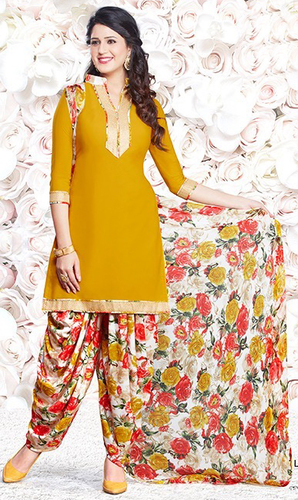 Yellow Synthetic Printed Bollywood  Salwar Suit