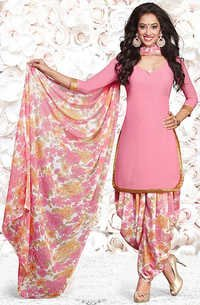 Pink Synthetic Printed Party Wear Salwar Suit