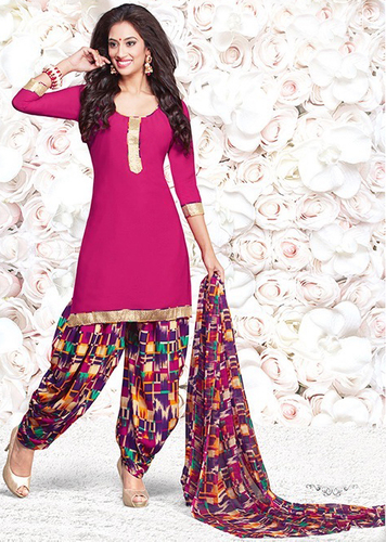 Pink Synthetic Printed Salwar Suit