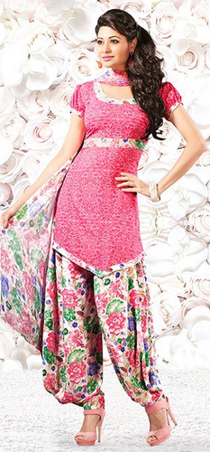 Pink Synthetic Printed Daily Wear Salwar Suit