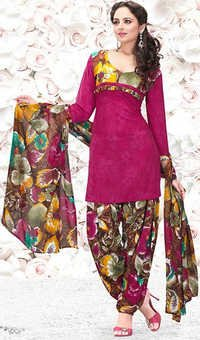 Pink Synthetic Printed Exclusive Salwar Suit
