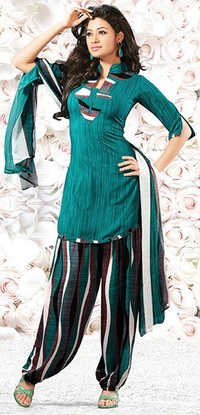Green Synthetic Printed Vintage Salwar Suit