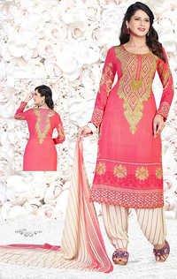 Pink Synthetic Printed Punjabi Salwar Suit