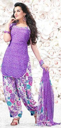 Purple Synthetic Printed Evening Wear Salwar Suit