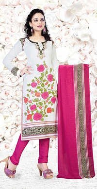 White Pink Synthetic Printed Salwar Suit