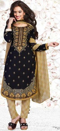 Black Yellow Synthetic Printed Party Wear Salwar Suit