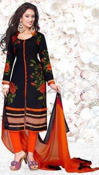 Black Orange Synthetic Printed Office Wear Salwar Suit