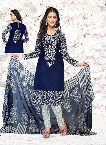 Blue White Synthetic Printed Daily Wear Salwar Suit