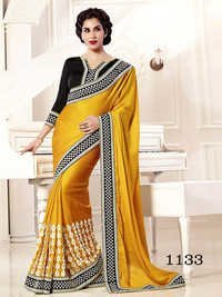 Designer Fancy Stylish Latest Exclusive Party Wear Yellow Georgette Saree